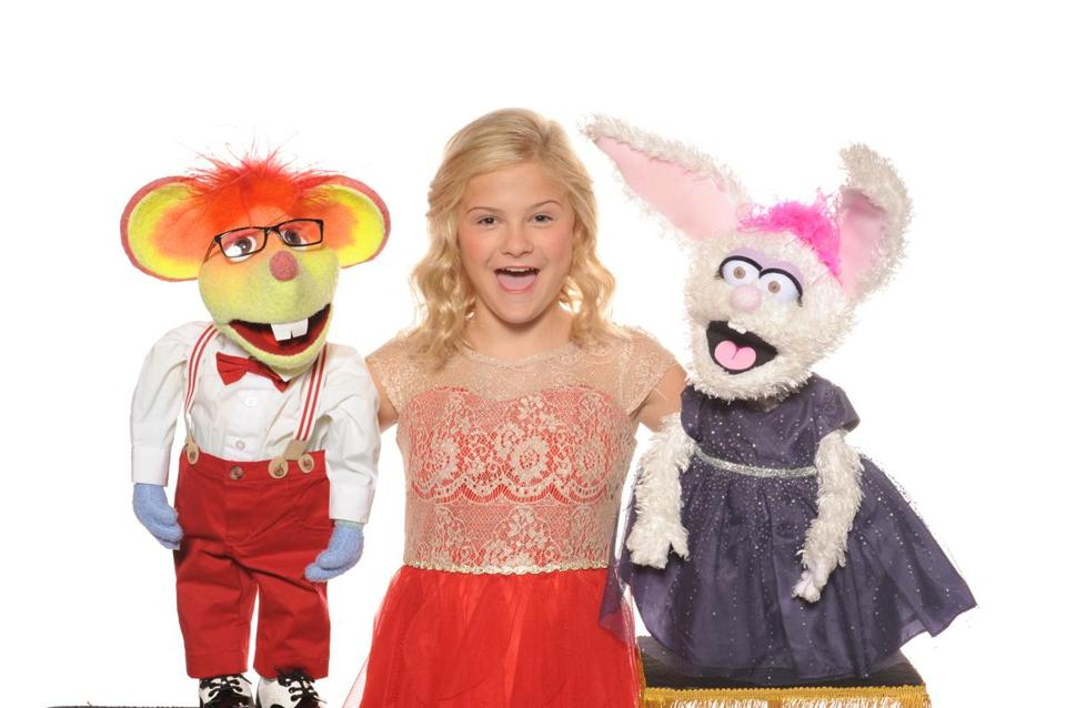Darci Lynne with Oscar the bashful mouse and Petunia the diva-like bunny.