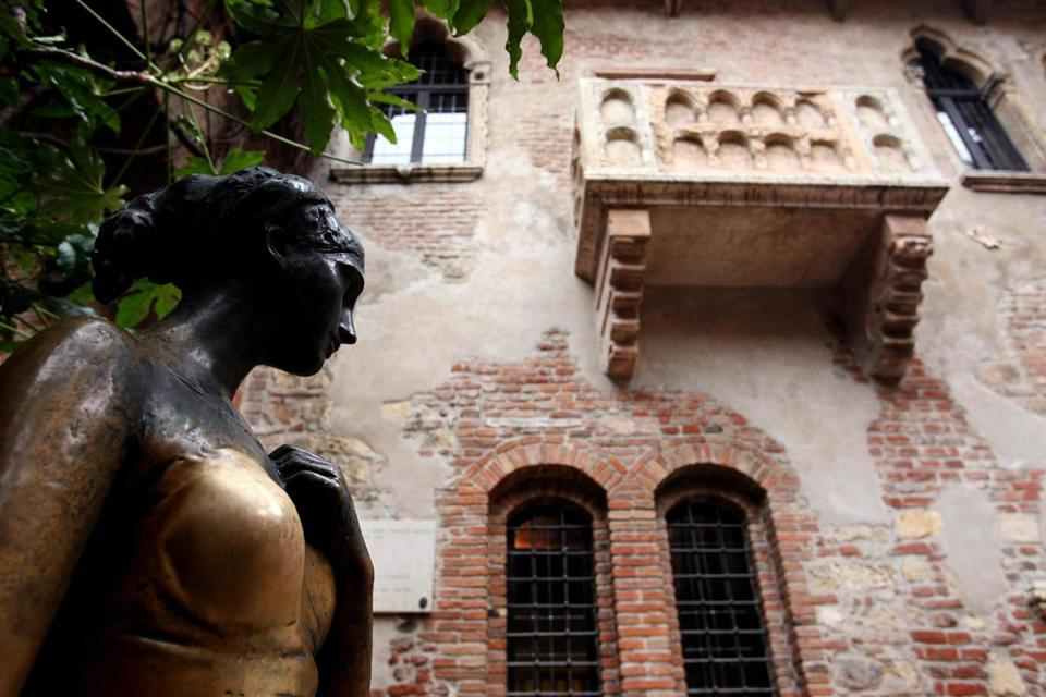 The bronze statue of Shakespeare's Juliet near the balcony of her house in central Verona, as pictured in 2008.