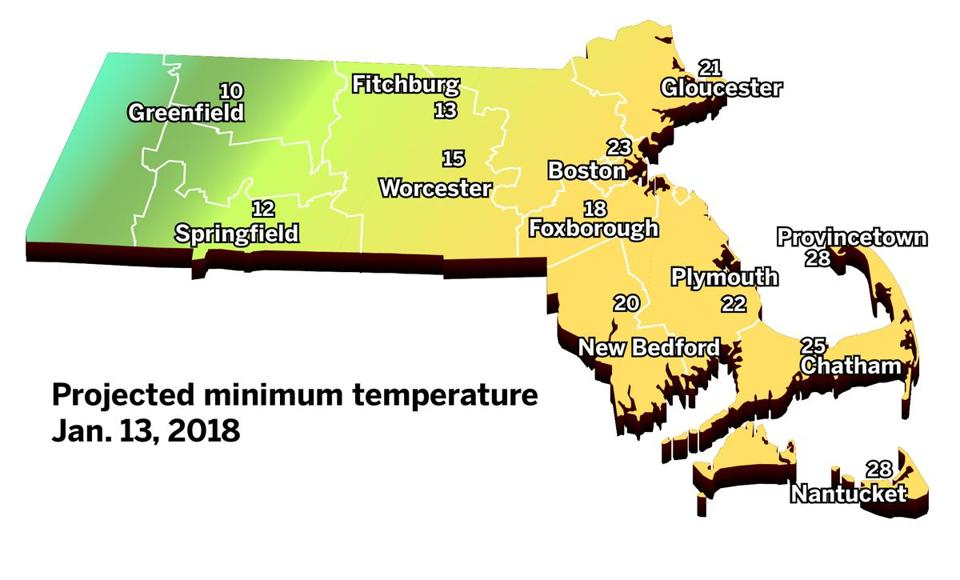 The minimum temperatures Saturday will be warmer on Cape Cod than areas further inland.