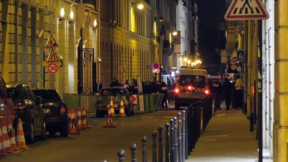 French police attend the scene outside the Ritz Hotel in Paris, France, after a robbery Wednesday evening.