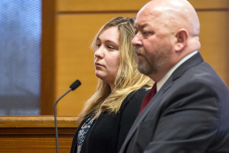 Alli Bibaud (left) with attorney Michael Wilcox.