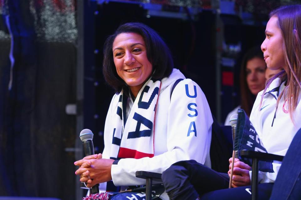NEW YORK, NY - NOVEMBER 01: Bobsledder Elana Meyers Taylor attends the 100 Days Out 2018 PyeongChang Winter Olympics Celebration - Team USA in Times Square on November 1, 2017 in New York City. (Photo by Mike Stobe/Getty Images for USOC)