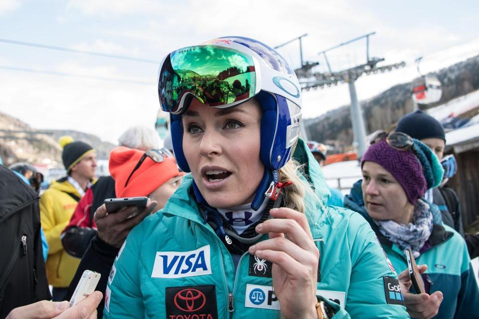 Mandatory Credit: Photo by CHRISTIAN BRUNA/EPA-EFE/REX/Shutterstock (9318308o) Lindsey Vonn of the USA talks to journalists after the downhill training session at the FIS Alpine Ski World Cup in Bad Kleinkirchheim, Austria, 12 January 2018. Alpine Skiing World Cup in Bad Kleinkirchheim, Austria - 12 Jan 2018
