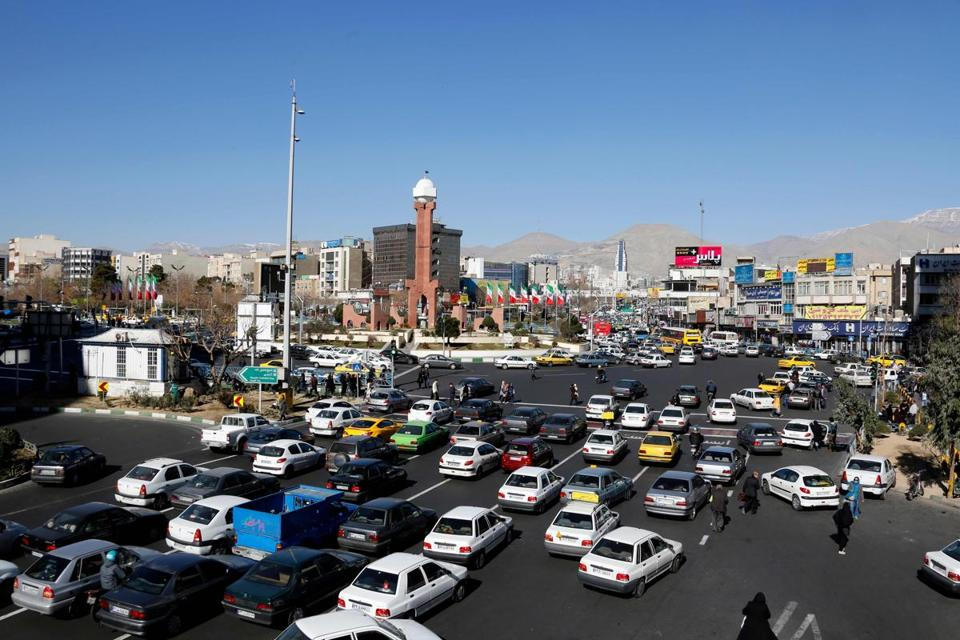 Iranian motorists drove in Sadeqyeh Square in the capital Tehran on Saturday. Iran rejected any modification of its nuclear deal with world powers after US President Donald Trump demanded tough new measures to keep the agreement alive.