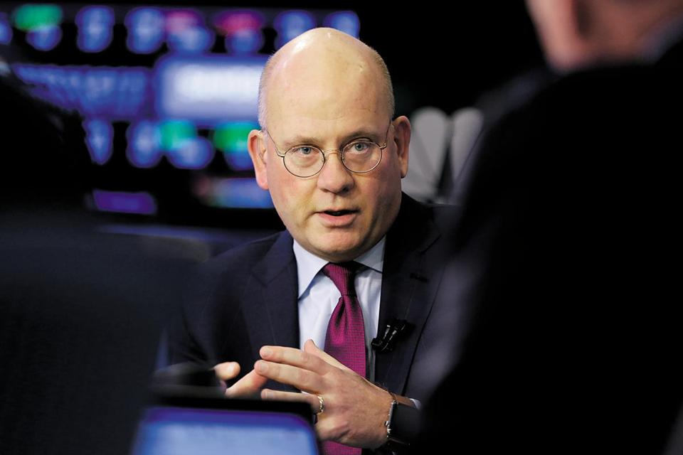 General Electric Chairman and CEO John Flannery is interviewed on the floor of the New York Stock Exchange, Tuesday, Nov. 14, 2017. Flannery said the company is weighing the future of its transportation, industrial, and lighting businesses so that it can focus more intently on its most profitable divisions. (AP Photo/Richard Drew)