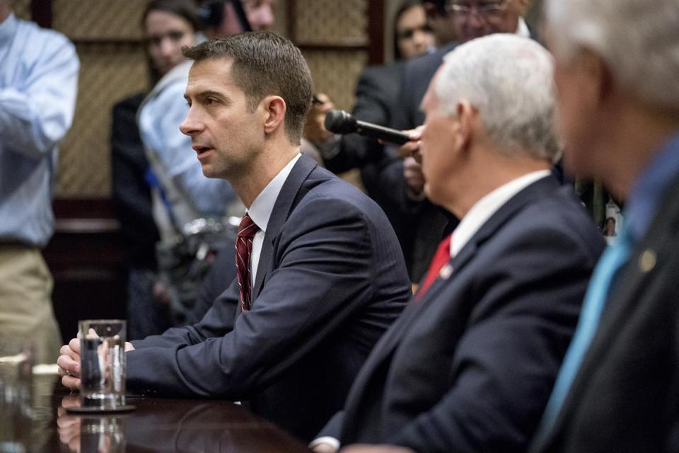 Sen. Tom Cotton, R-Ark., left, speaks during a meeting between President Donald Trump and Republican Senators on immigration in the Roosevelt Room at the White House, Thursday, Jan. 4, 2018, in Washington. (AP Photo/Andrew Harnik)