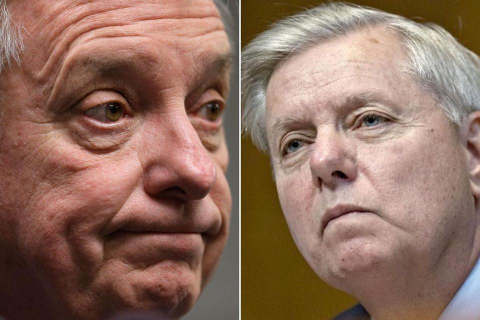 Senators Richard Durbin (left), a Democrat, and Lindsey Graham, a Republican, have worked on a deal linking immigration to a spending bill.