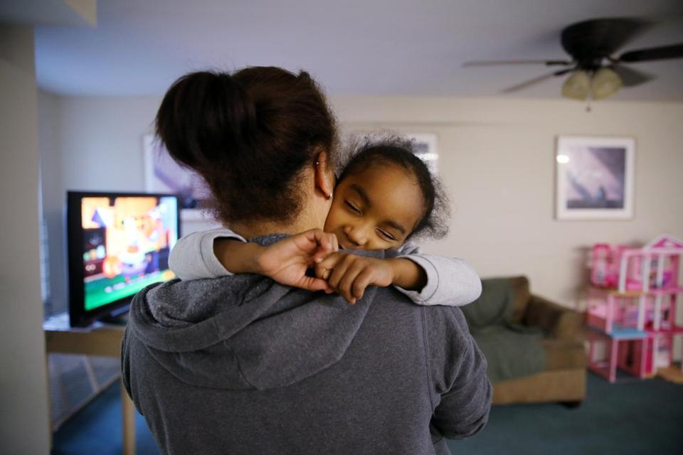 Carolina Deleon comforted her daughter Jereiwi De Los Santos, 4, at the Somerville Homeless Coalition Family Shelter, where they are guests.
