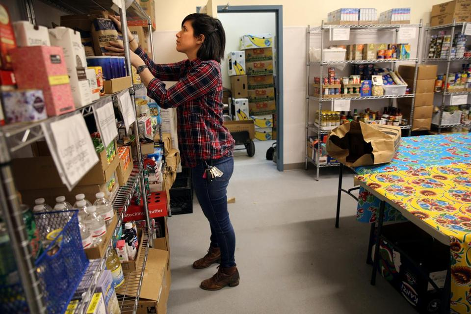 Pantry associate Marni Berliner worked at the Somerville Homeless Coalition's food pantry.