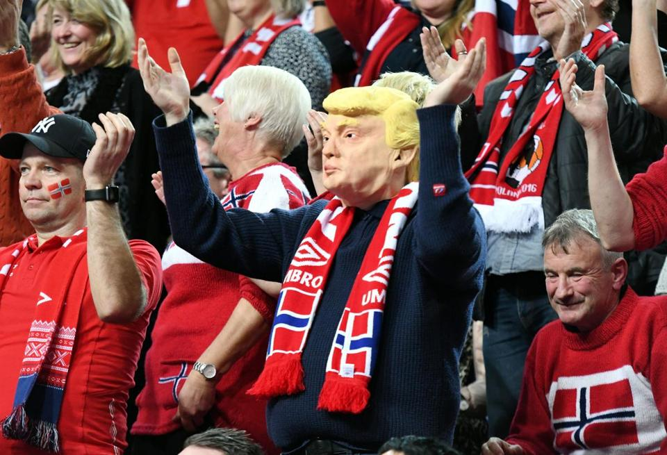 A Norway supporter wearing a Donald Trump mask cheered on his team last week during a handball match against Belarus.