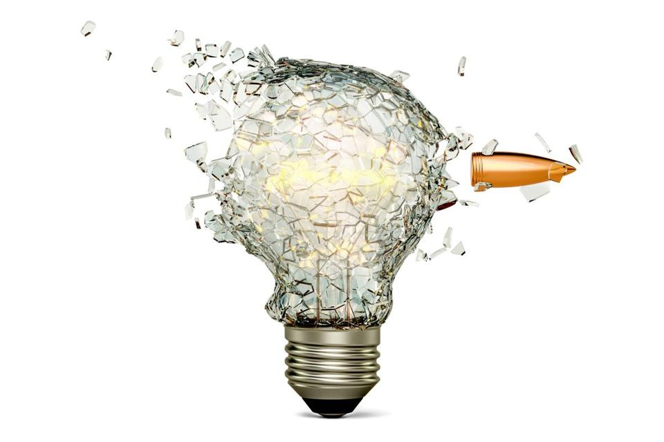 Bullet breaking a light bulb, 3D rendering isolated on white background