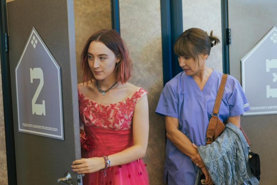 "Saoirse Ronan and Laurie Metcalf in ""Lady Bird,"" from first-time director Greta Gerwig. Globe critic Ty Burr wrote: ""As debuts go, 'Lady Bird' is as strong as they get: funny, ferocious, and wise."""
