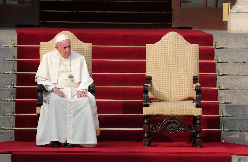 Pope Francis participated in an event at Government Palace in Lima, Peru, on Friday.