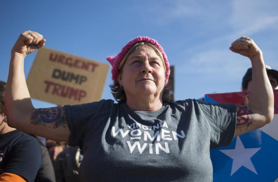 Lisa Lucas Gardner takes part in the Women's March on Washington 2018: March On The Polls! on the National Mall on January 20, 2018 in Washington DC. / AFP PHOTO / Andrew CABALLERO-REYNOLDSANDREW CABALLERO-REYNOLDS/AFP/Getty Images