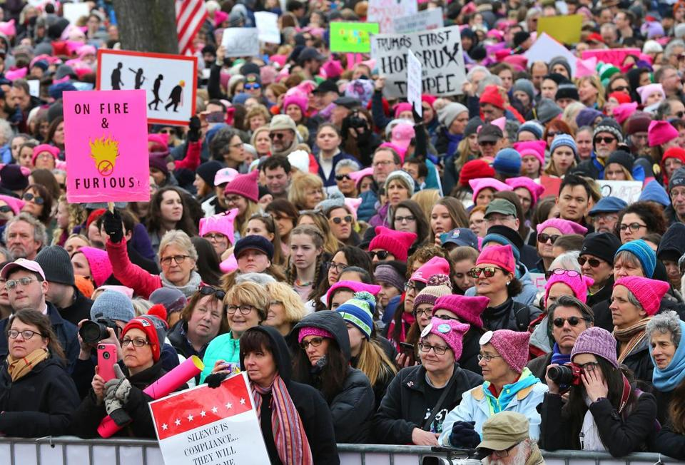 A women's march and rally drew thousands to Cambridge Common on Saturday.