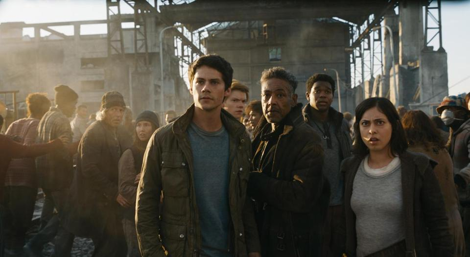 "Foreground (from left): Dylan O'Brien, Giancarlo Esposito, and Rosa Salazar in ""Maze Runner: The Death Cure."""