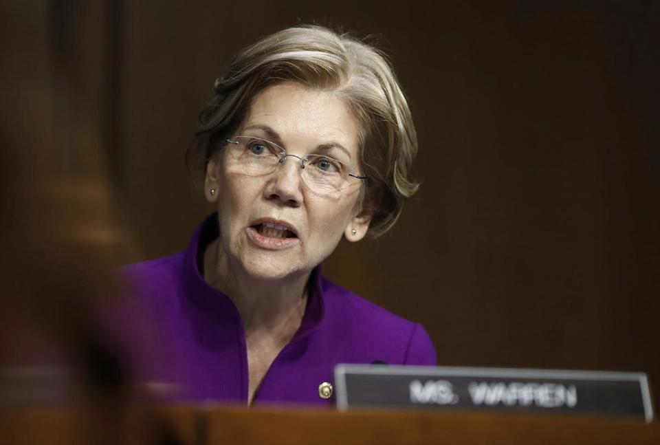 Senator Elizabeth Warren during a Senate Banking, Housing, and Urban Affairs Committee hearing.