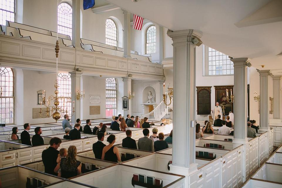 The Elliotts' ceremony took place in the Old North Church.