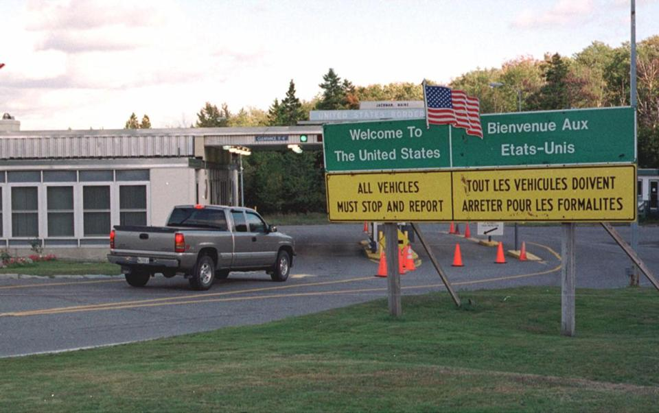 A US Customs checkpoint on the US-Canada border in Jackman, Maine.