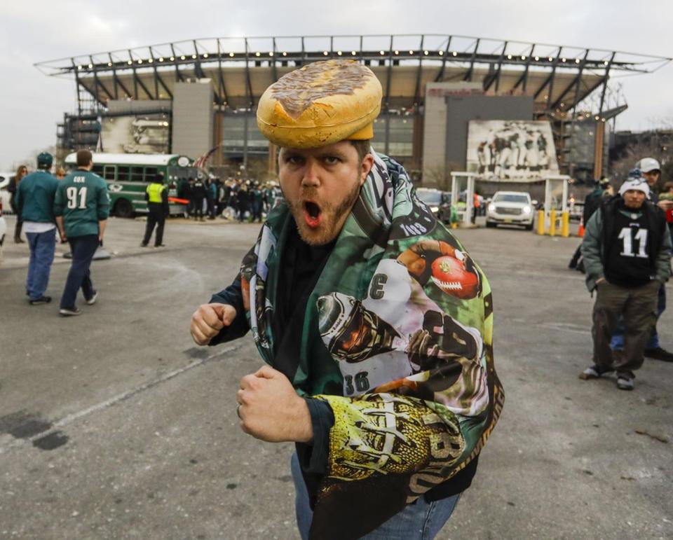 A Philadelphia Eagles fan wore a cheesesteak hat outside Lincoln Financial Stadium.
