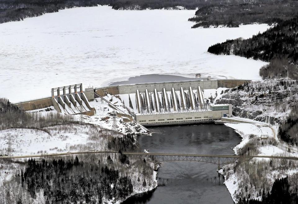 A dam operated by Hydro-Quebec in Baie Comeau, at the Manicouagan Reservoir.