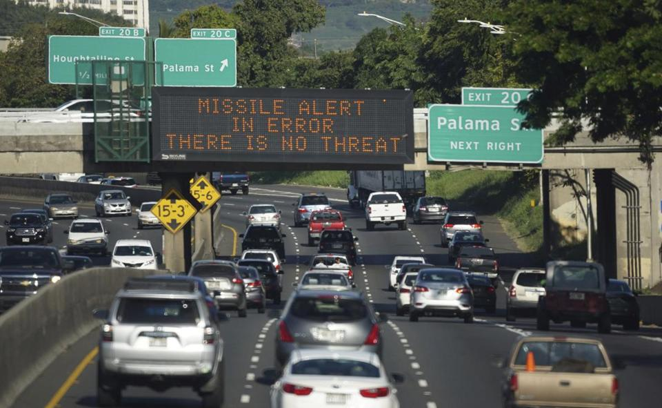 A sign in Hawaii earlier this month informed motorists about the false alert.