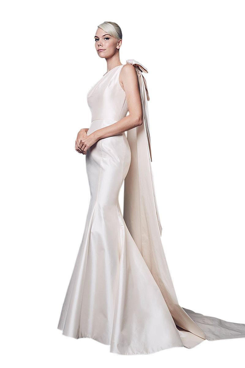 Eight New Bridal Gown Styles Feature Clean Lines And Romantic Liana Dress Muslim Beige 5 Shoulder Bow