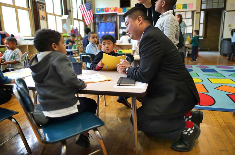 School Superintendent Tommy Chang visited the Sarah Greenwood School and spoke with a K2 Spanish class student.