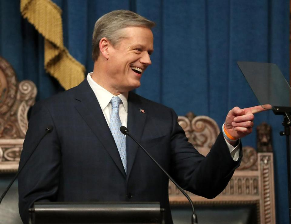 Governor Charlie Baker delivered the State of the Commonwealth address in the house chamber of the State House in January.