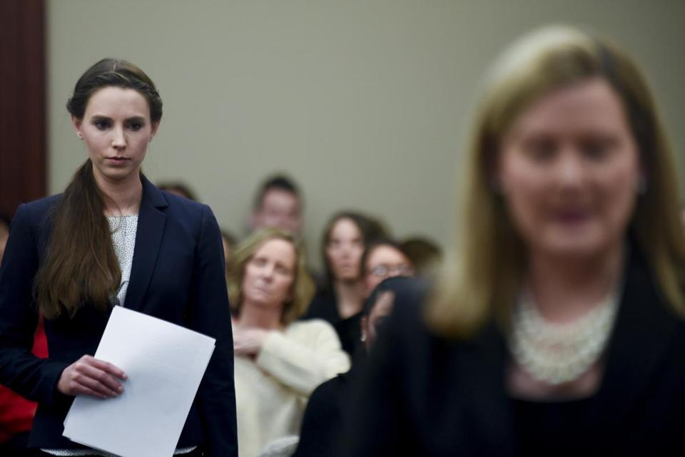 Rachael Denhollander (left) is introduced by Assistant Attorney General Angela Povaliatis before she makes the final victim impact statement during Larry Nassar's sentencing hearing Wednesday.