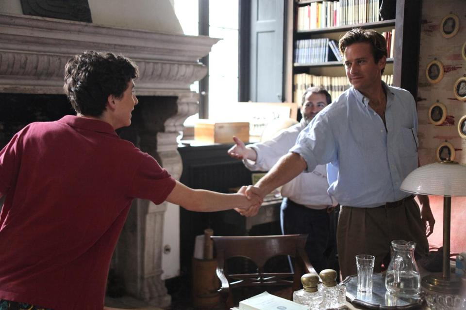 "This image released by Sony Pictures Classics shows Timothée Chalamet, left, and Armie Hammer in a scene from ""Call Me By Your Name."" The film was nominated for a Golden Globe award for best motion picture drama on Monday, Dec. 11, 2017. The 75th Golden Globe Awards will be held on Sunday, Jan. 7, 2018 on NBC. (Sony Pictures Classics via AP)"
