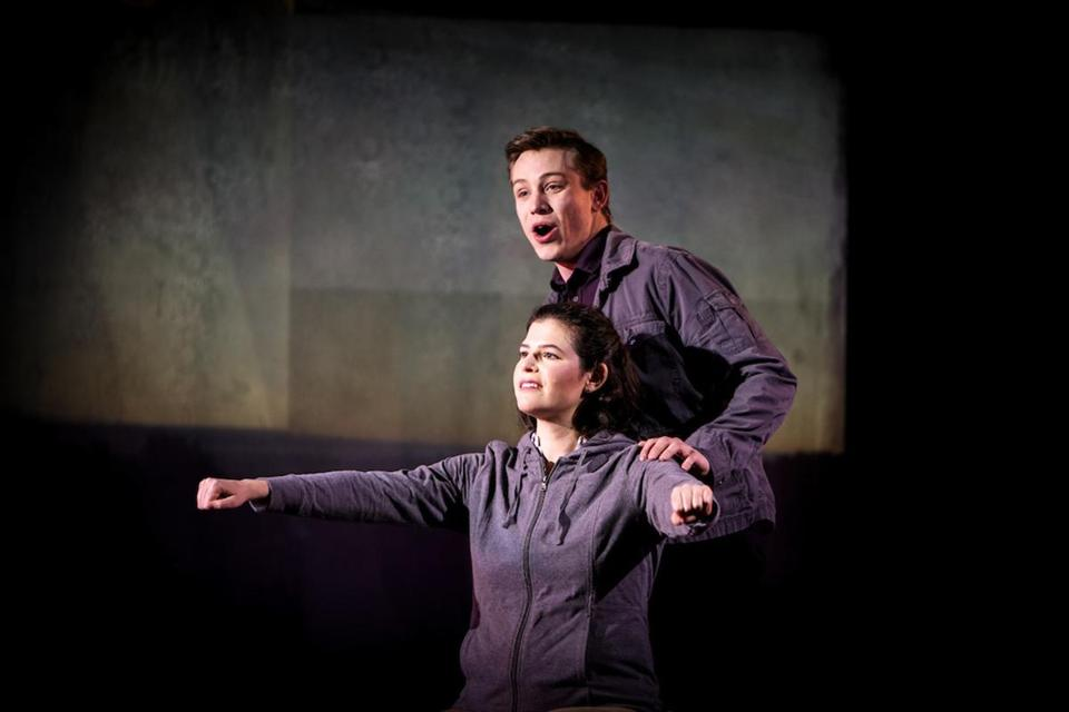 "Baritone Scott Ballantine as Hannah Before and mezzo-soprano Rebecca Krouner as Hannah After in ""As One."""