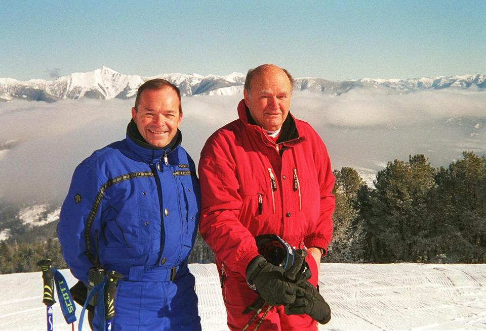 scanned on 2/7/01 -- Tim Blixseth (left) and Warren Miller at The Yellowstone Club private ski resort. photo. Library Tag 02082001 SPORTS