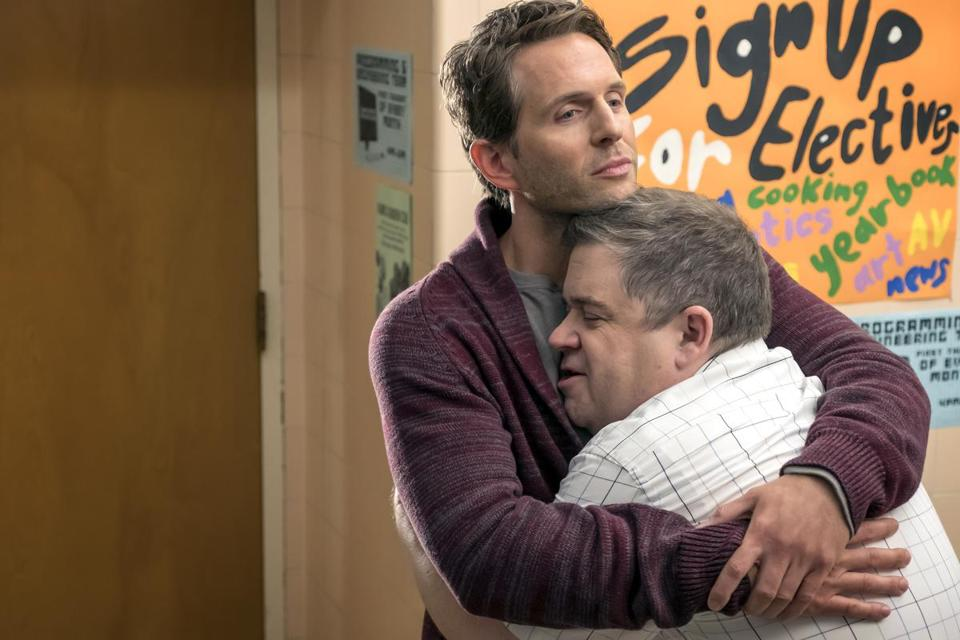 "Glenn Howerton (left) and Patton Oswalt in ""A.P. Bio."""