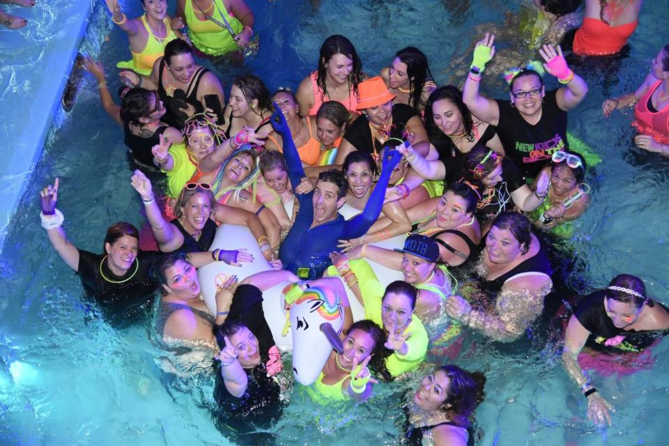 Joey McIntyre was joined in the pool by some fans.
