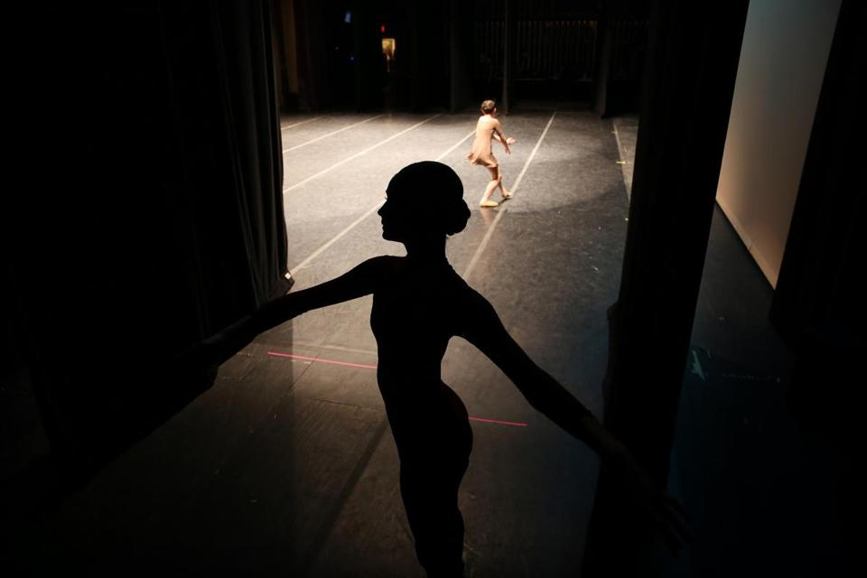 WORCESTER, MA- JANUARY 26, 2018- :Nina Zurawski, 13, of Dudley, MA, waits to dance in the Junior Contemporary Competition of the Youth America Grand Prix (YAGP) regional semi-finals at the Hanover Theatre for the Performing Arts in Worcester, MA on January 26, 2018. Zurawski studies at the Hanover Conservatory. (Hundreds of ballet dancers - ages 9 to 19 - from all over Massachusetts area will be auditioning this weekend for the Youth America Grand Prix (YAGP) regional semi-finals. Throughout the weekend, the students will attend workshops, competitions, and dance classes. Selected competitors will continue on to the finals in New York City in April. YAGP awards more than $250,000 a year in scholarships to send young dancers to leading schools and dance companies to continue their training. ) (Craig F. Walker / Globe staff) section: metro reporter:
