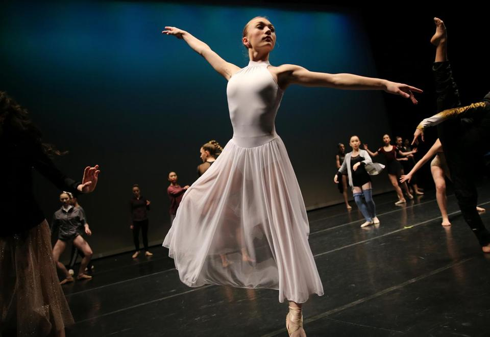 WORCESTER, MA- JANUARY 26, 2018- : Klara Whalley, 14, of Mattapoisett, MA prepares for the the Junior Contemporary Competition of the Youth America Grand Prix (YAGP) regional semi-finals at the Hanover Theatre for the Performing Arts in Worcester, MA on January 26, 2018. (Hundreds of ballet dancers - ages 9 to 19 - from all over Massachusetts area will be auditioning this weekend for the Youth America Grand Prix (YAGP) regional semi-finals. Throughout the weekend, the students will attend workshops, competitions, and dance classes. Selected competitors will continue on to the finals in New York City in April. YAGP awards more than $250,000 a year in scholarships to send young dancers to leading schools and dance companies to continue their training. ) (Craig F. Walker / Globe staff) section: metro reporter: