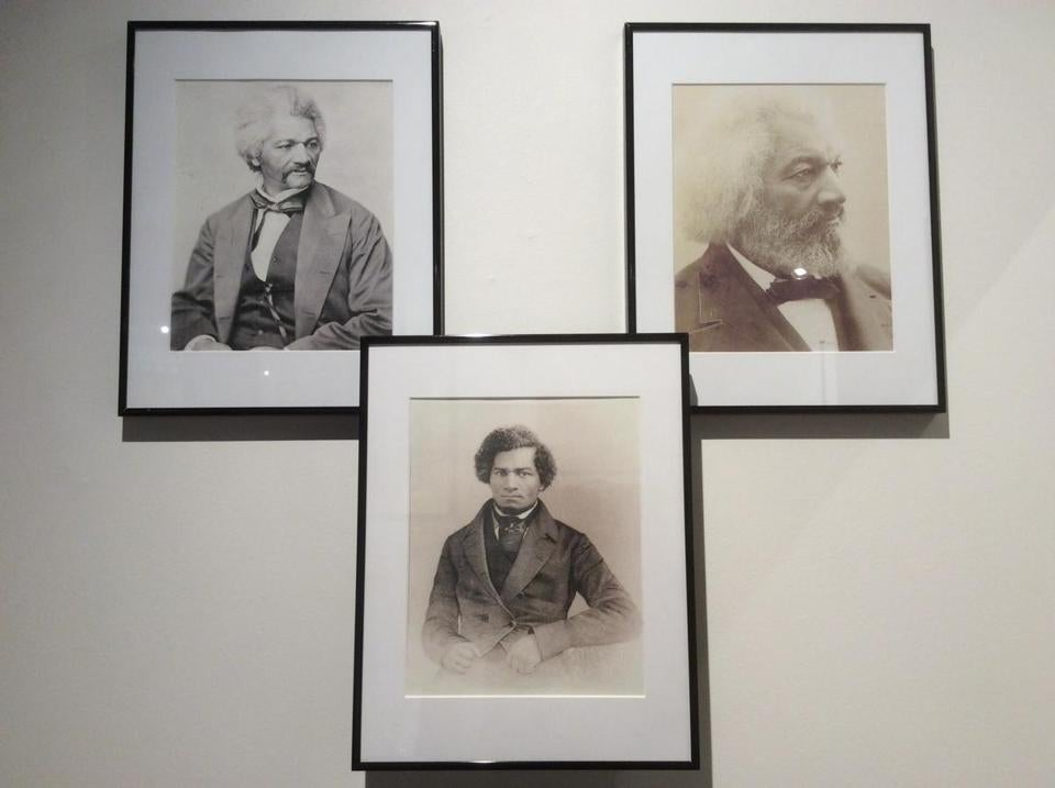 04nodouglass -- Three portraits of Frederick Douglass at Lynn Museum & Historical Society. (Amy Cools)