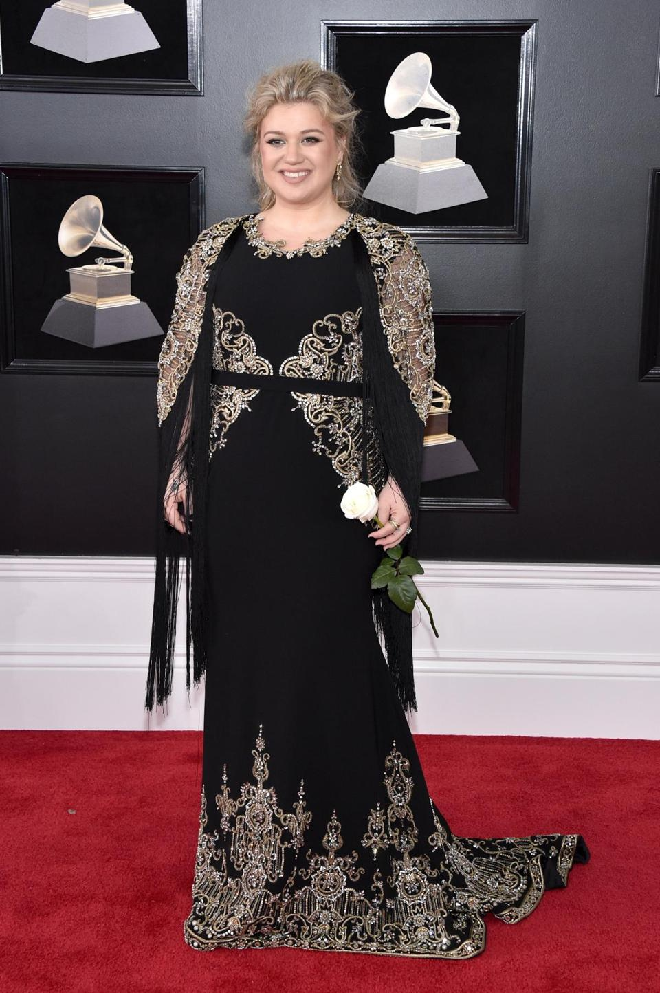 NEW YORK, NY - JANUARY 28: Reording artist Kelly Clarkson attends the 60th Annual GRAMMY Awards at Madison Square Garden on January 28, 2018 in New York City. (Photo by John Shearer/Getty Images)