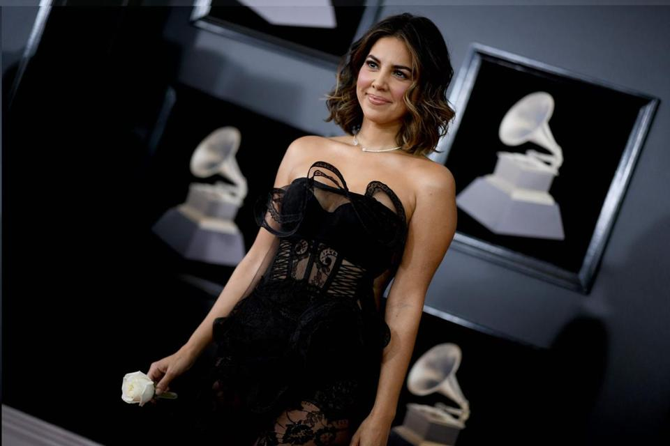 Liz Hernandez arrives for the 60th Grammy Awards on January 28, 2018, in New York. / AFP PHOTO / Jewel SAMADJEWEL SAMAD/AFP/Getty Images