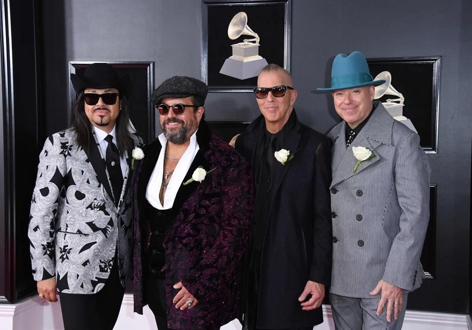 The Mavericks arrive for the 60th Grammy Awards on January 28, 2018, in New York. / AFP PHOTO / ANGELA WEISSANGELA WEISS/AFP/Getty Images