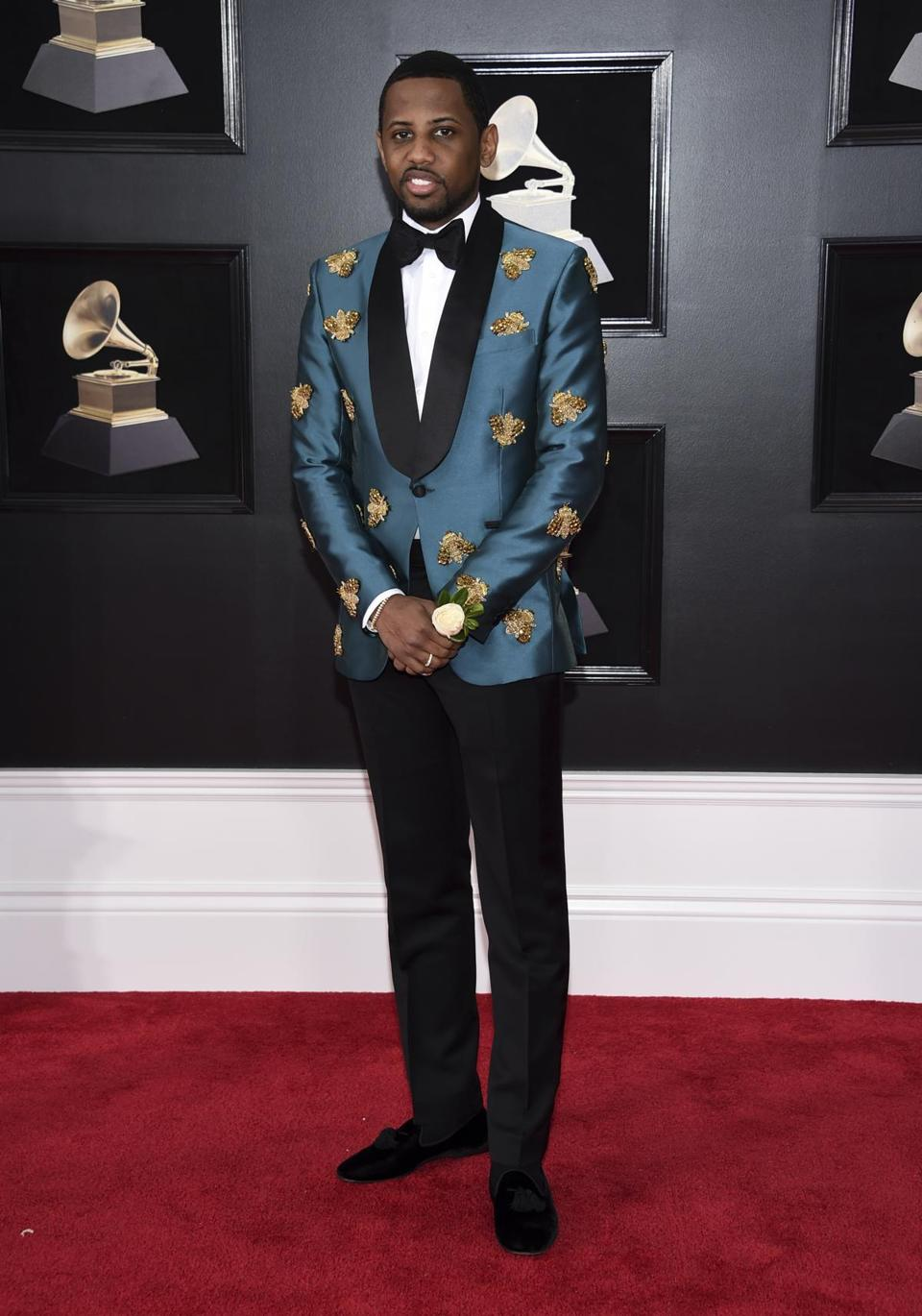 Fabolous wore a blue patterned tux jacket.
