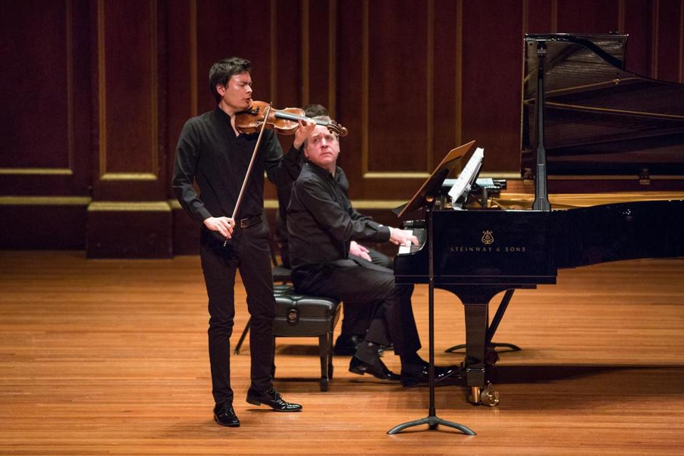 Pianist Jeremy Denk and violinist Stefan Jackiw performed an all-Ives program at Jordan Hall.