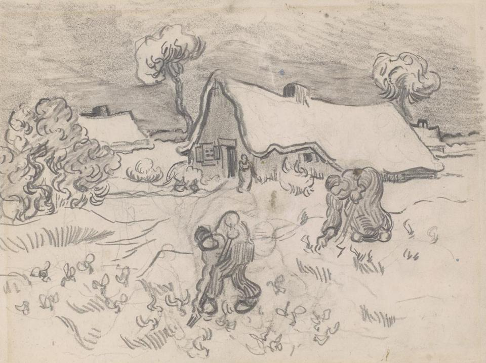 "Vincent van Gogh's ""Workers in the Field,"" part of ""Drawn to Greatness: Master Drawings From the Thaw Collection"" at Clark Art Institute."