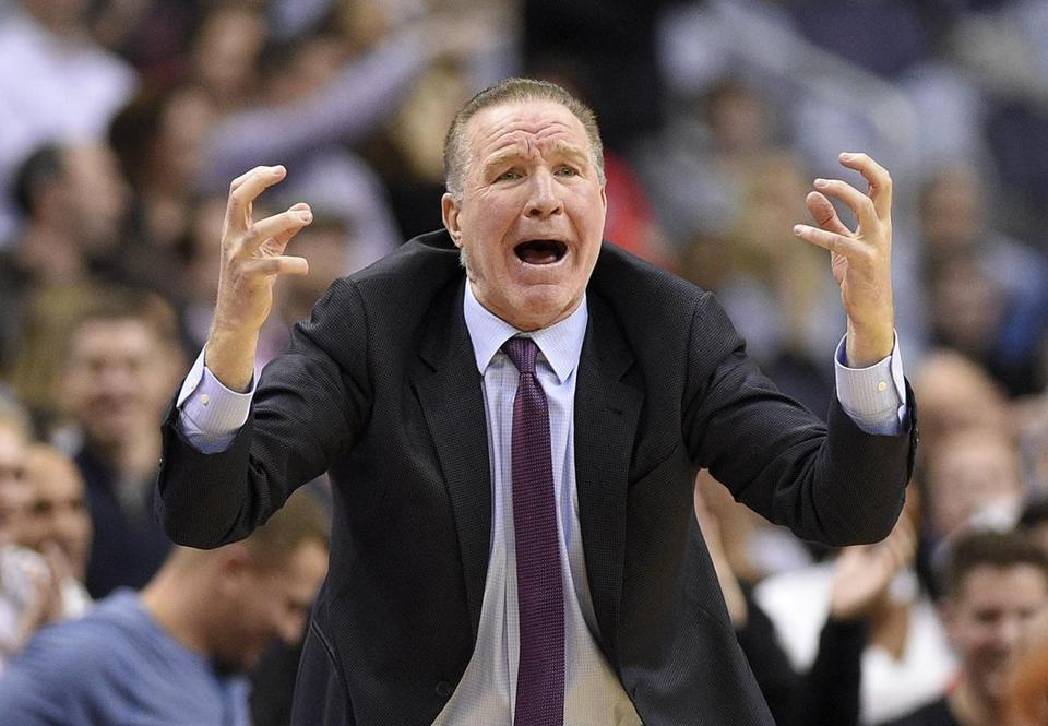 St. John's head coach Chris Mullin reacts during the first overtime half of an NCAA college basketball game against Georgetown, Saturday, Jan. 20, 2018, in Washington. Georgetown won 93-89 in double overtime. (AP Photo/Nick Wass)