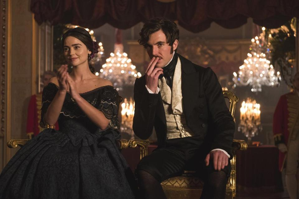 "Jenna Coleman and Tom Hughes in PBS's ""Victoria."""
