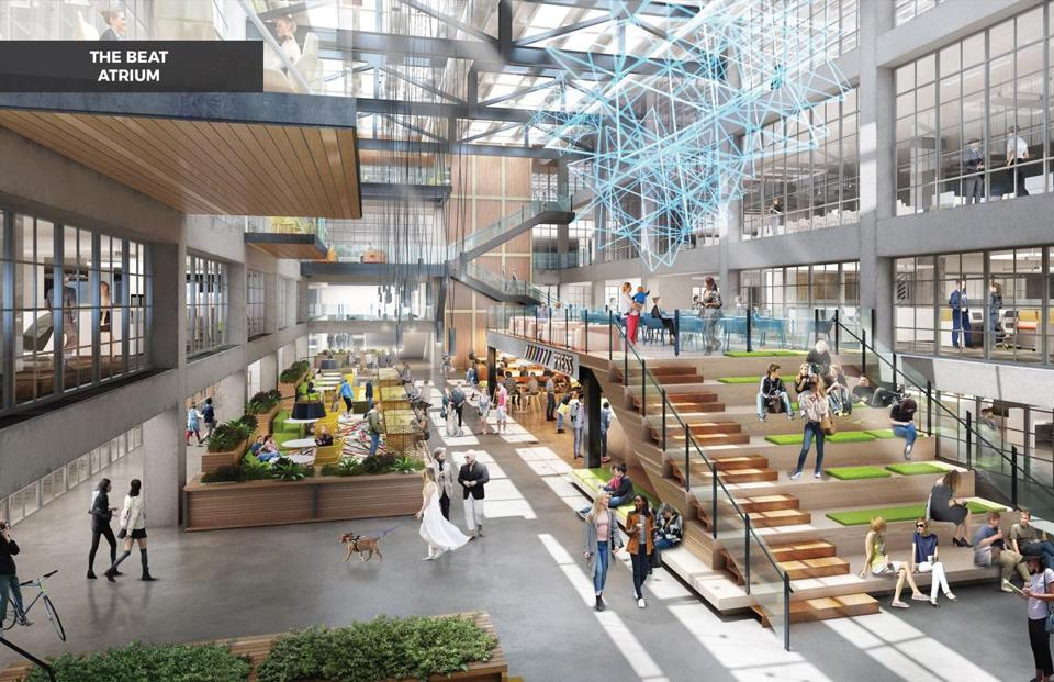The developer envisions the former printing press area as a food hall and perhaps a co-working space.