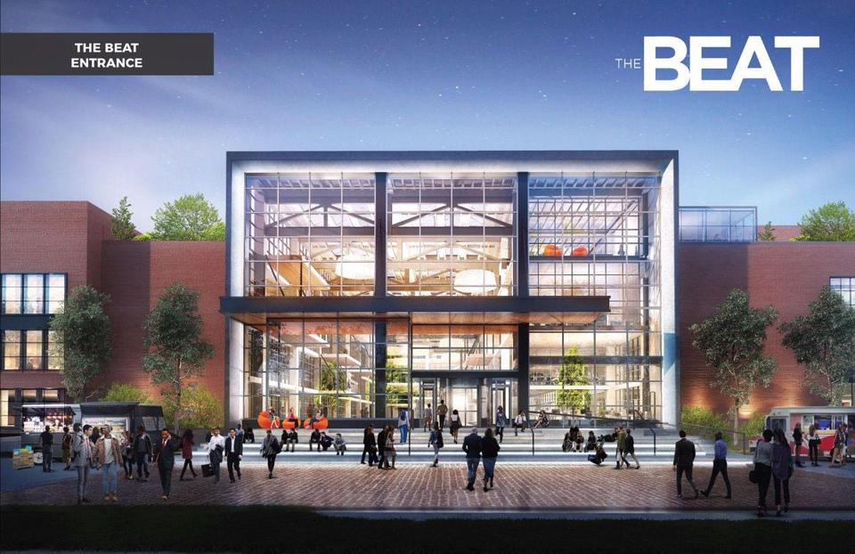 A rendering of the proposed redevelopment of the Boston Globe's former headquarters on Morrissey Boulevard in Dorchester.
