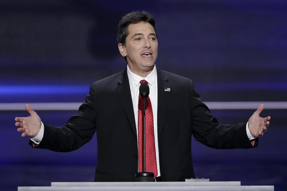 "FILE - In a July 18, 2016 file photo, actor Scott Baio speaks during the opening day of the Republican National Convention in Cleveland. Baio is denying a claim made by his former ""Charles in Charge"" co-star Nicole Eggert that something inappropriate happened between the two when she was a minor. Eggert tweeted Saturday. Jan. 27, 2018 to ask Baio about what happened in his garage when she was a minor. (AP Photo/J. Scott Applewhite, File)"