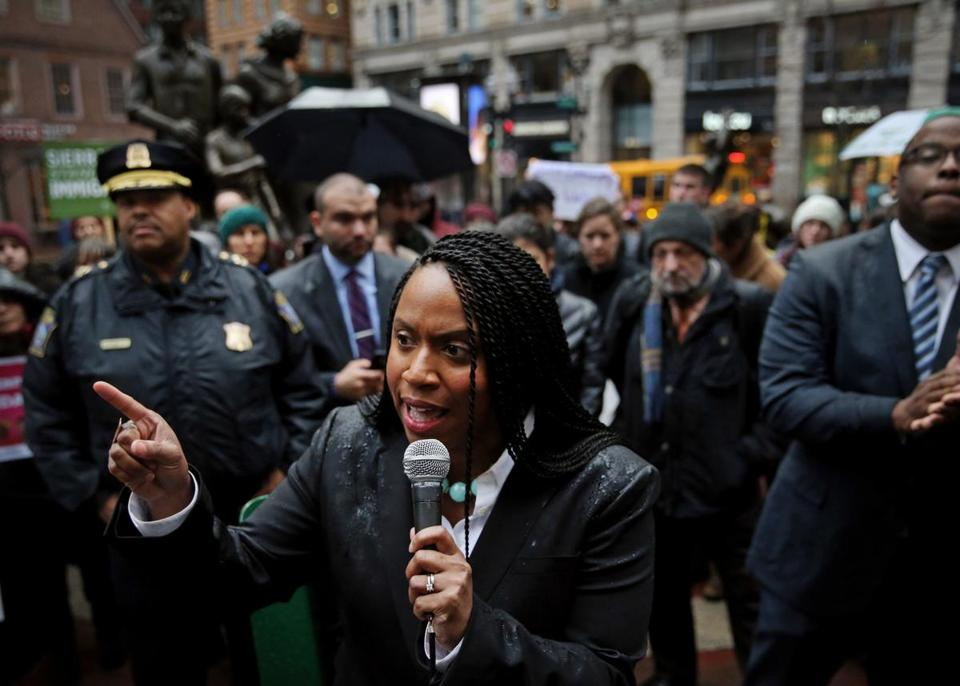 Ayanna Pressley spoke to a protest crowd in Downtown Crossing last year.